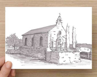 Adriatica Chapel in McKinney Texas - Church, Wedding, Lake, Architecture, Ink Drawing, Sketch, Black and White, Art, Pen and Ink, 5x7, 8x10