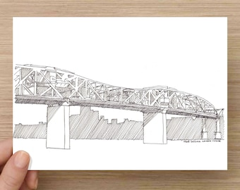 Ink Drawings of (4) iconic bridges in Portland, Oregon - Architecture, Sketch, 5x7 Print, Art, Illustration, Pen and Ink