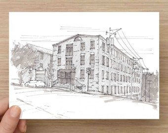 Pen and Ink Drawing of Manayunk Canal House in Philadelphia - Main Street, History, Architecture, Sketch, Art