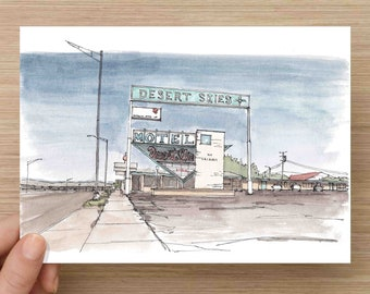 Watercolor Painting of Desert Skies Motel on Route 66 in New Mexico - America, Ink Drawing, Sketch, Watercolor, Art, Pen and Ink, 5x7, 8x10