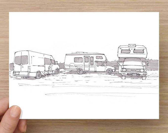 Camper Van and RVs Parked on Beach - Travel, Toyota, Sprinter, Vanlife, Ink Drawing, Sketch, Black and White, Art, Pen and Ink, 5x7, 8x10
