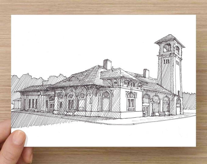 Ink Drawing of Lake George Steamboat Terminal - New York, Tower, Architecture, Sketch, 5x7, 8x10, Print, Art, Illustration, Pen and Ink