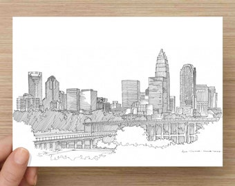 Pen and Ink Drawing of Charlotte North Carolina Skyline - Buildings, City, Skyscraper, Architecture