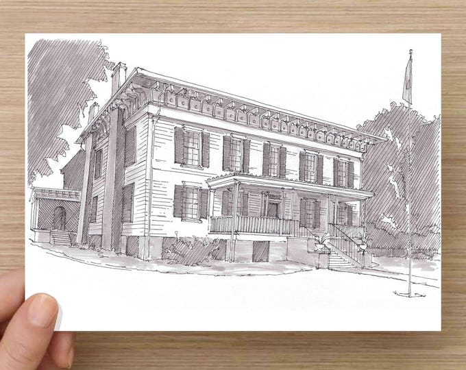 Ink Drawing of the historic First White House of the Confederacy in Montgomery, Alabama - Sketch, Art, Pen and Ink, 5x7, 8x10, Print
