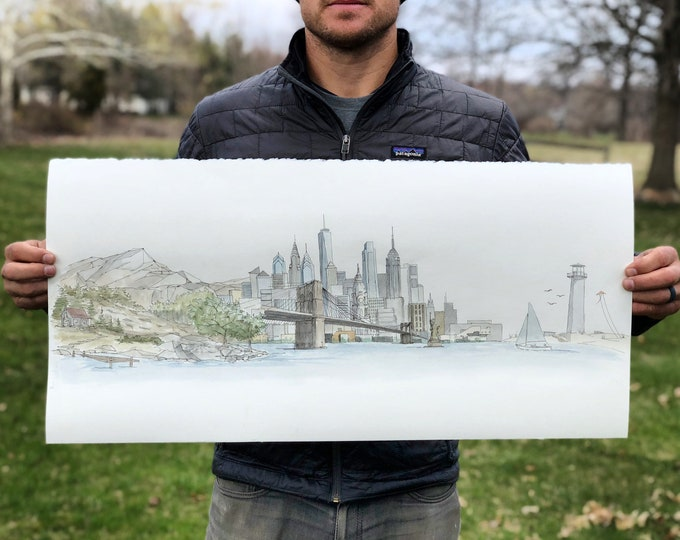 Ink and Watercolor Sketch of three combined landscapes - Mountains, City, Beach, Customize, Pen and Ink, Drawing, Art, 5x7, 8x10, Print