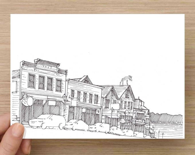 Ink Drawing of historic buildings in Bar Harbor, Maine - Architecture, Storefronts, Sketch, 5x7 Print, Art, Illustration, Pen and Ink