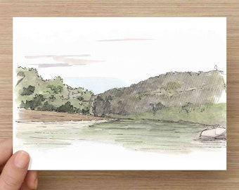 Ink and Watercolor Drawing of Buffalo National River at Spring Creek - Arkansas, Sketch, Watercolor, Art, Pen and Ink, 5x7, 8x10