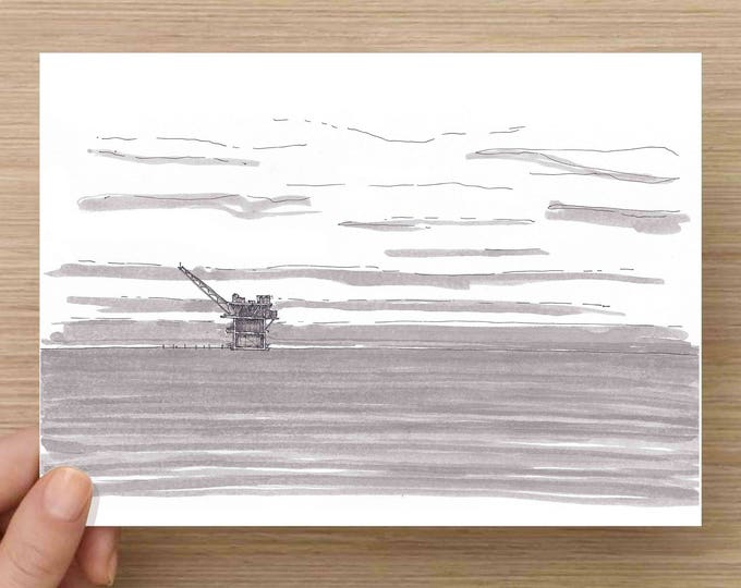 Ink Drawing of Off-Shore Oil Rig in Gulf of Mexico - Drawing, Art, Pen and Ink, 5x7, 8x10, Print, Ocean, Drilling, Platform, Alabama