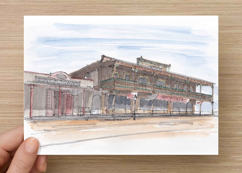 Ink And Watercolor Drawing Of Historic Tombston Arizona Architecture Hotel Wild West Western Town Sketch Art Pen And Ink 5x7 8x10