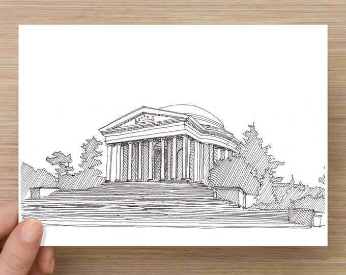 Jefferson Memorial - Washington DC, National Mall, Ink Drawing, Sketch, 5x7 Print, Art, Drawing, Illustration, Architecture, Rotunda