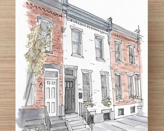 Ink and Watercolor Painting of Philadelphia Rowhomes - House, Rowhouse, Architecture, City Living, Historic, First House, Drawing, Art