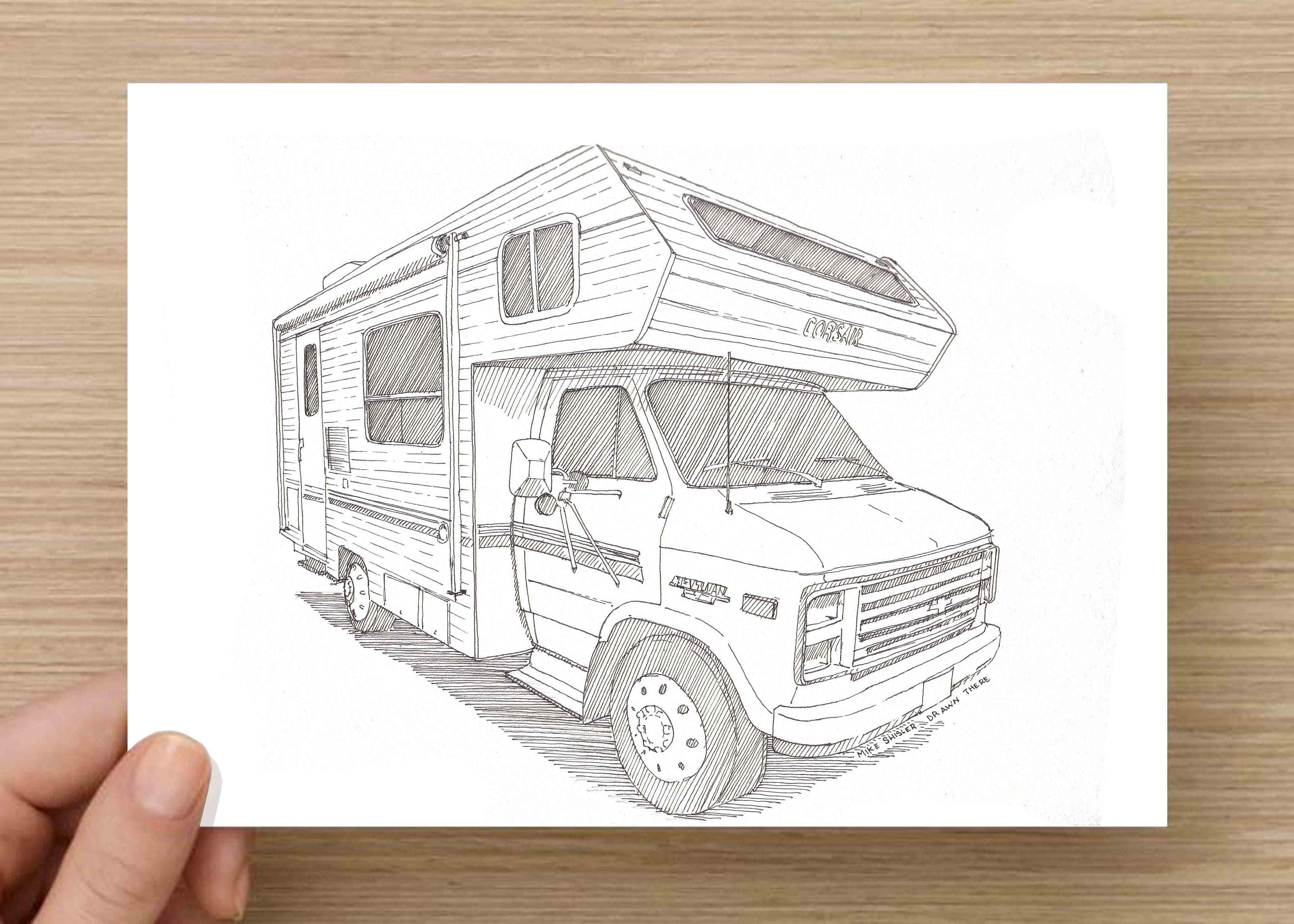Ink Drawing Of A Camper RV