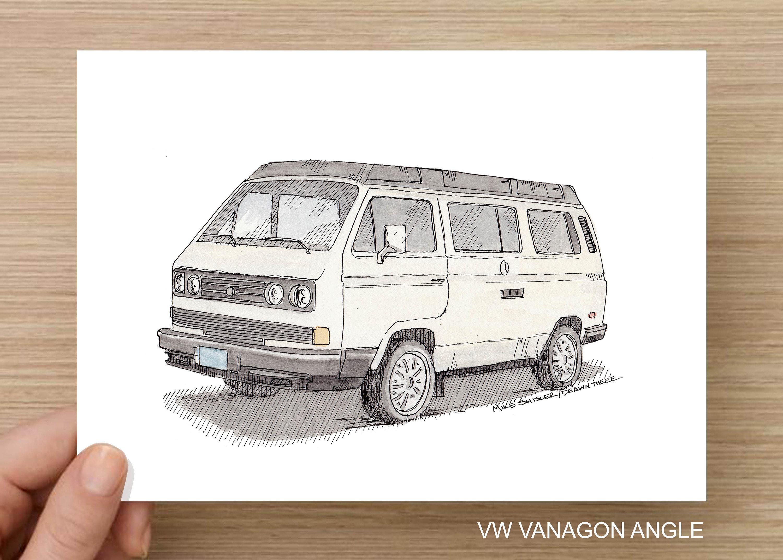 4 Pack Volkswagen Westfalia Vanagon Van Vanlife Westy Camping Roadtrip Ink And Watercolor Painting Drawing Art Print Drawn There