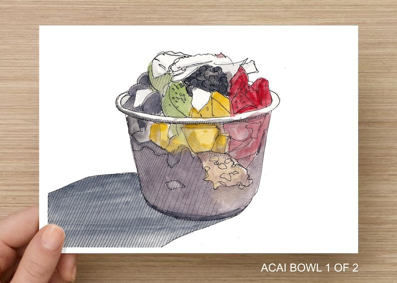 ACAI BOWL WATERCOLOR  Order Includes Two Drawings Art Print image 0
