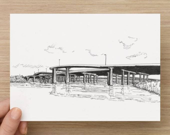 Ink sketch of elevated highways in Baltimore, Maryland - Drawing, Art, I95, River, Road, Pen and Ink, Civil Engineering, 5x7, 8x10, Print