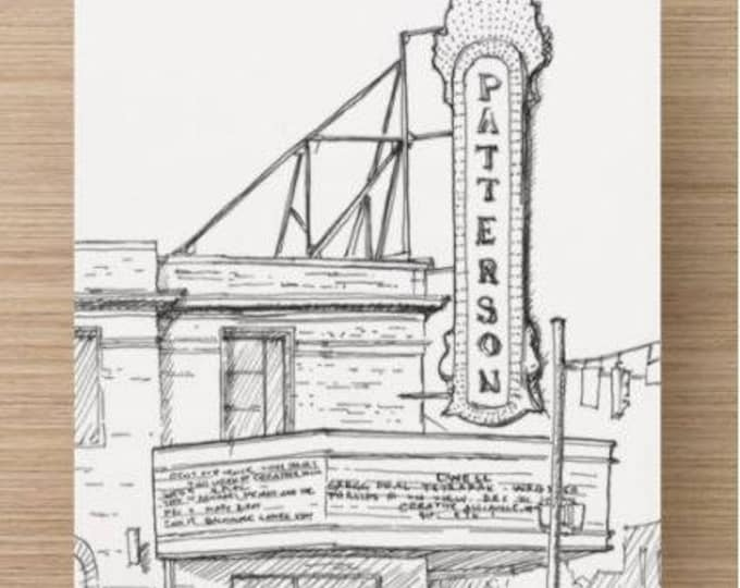 Ink sketch of Patterson Theater on Eastern Avenue in Baltimore, Maryland