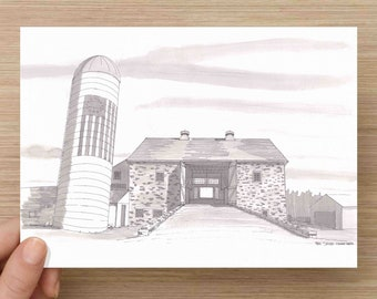 Pen and Ink Drawing of Durham Hill Farm in Pennsylavnia - Bank Barn, Silo, American Flag, Architecture, Wedding Venue, Art