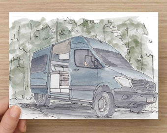 Ink and Watercolor Painting Converted Sprinter Van - Vanlife, DIY, Camper Van, RV, Mercedes, 4x4, Tiny House, Nomad, Travel, Drawing, Art