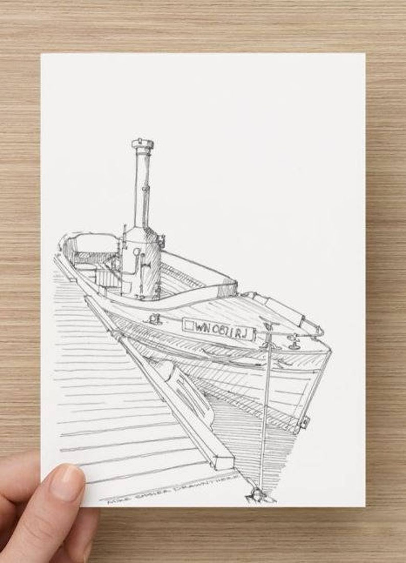 Steam Power Seattle Art Print Pen and Ink Drawing Sketchbook PUFFIN STEAM BOAT Washington Line Drawing Drawn There Wooden Boat