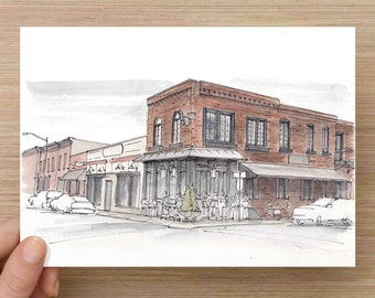 Ink and Watercolor Painting Mama's On The Half Shell Restaurant in Baltimore, Maryland - Canton, Oysters, Mamas, Seafood, Drawing, Art