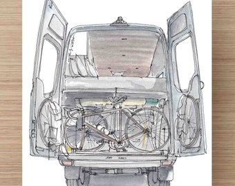 Ink and Watercolor Painting Back of Converted Sprinter Van - Vanlife, Camper Van, RV, Mercedes, Gear Garage, Adventure Gear, Drawing, Art