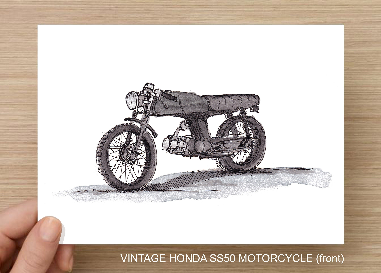 Honda Ss50 Motorcycle 1972 Vintage Classic Bike Streetbike Cafe Racer Drawing Watercolor Painting Sketchbook Art Drawn There