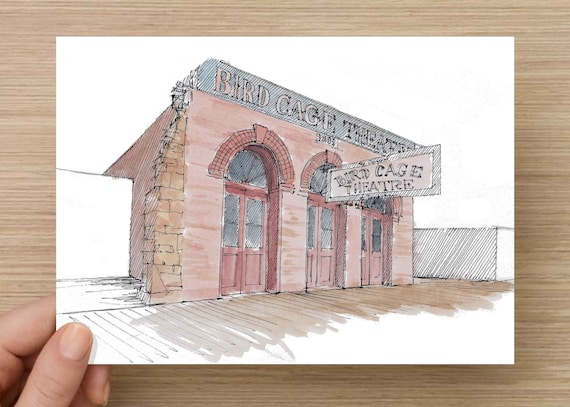 Ink And Watercolor Drawing Of Historic Birdcage Theater In Tombstone Arizona Architecture Wild West Sketch Art Pen And Ink 5x7 8x10
