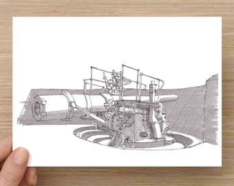 Ink Drawing of Battery Artillery Gun near Fort Pickens, Pensacola, Florida - Drawing, Art, Gulf Islands, WWII, Pen and Ink, 5x7, 8x10, Print