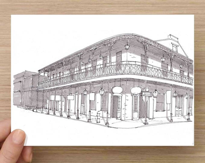 Bar and Balcony on Bourbon Street in New Orleans, Louisana - Ink, Drawing, Art, Historic, French Quarter, Architecture, 5x7, 8x10, Print