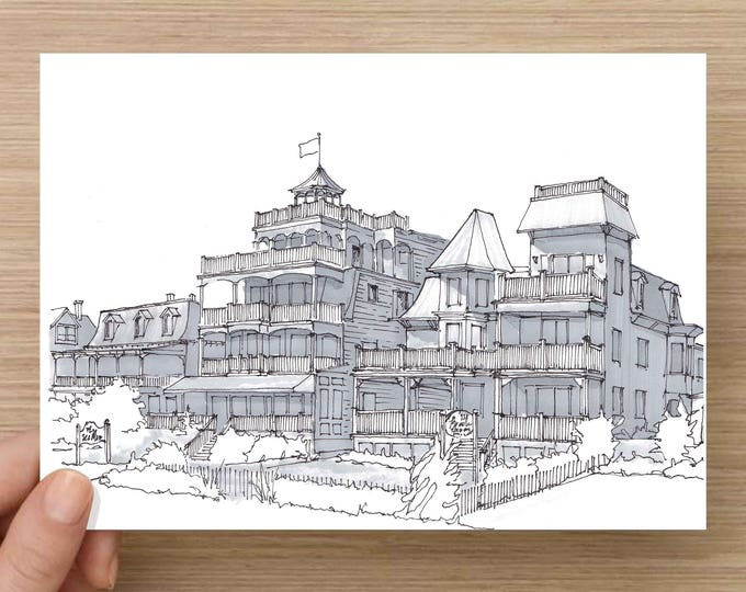 Ink Sketch of Sea Mist in Cape May, New Jersey - Drawing, Art, Victorian, Beach, House, Hotel, Architecture, Pen and Ink, 5x7, 8x10, Print