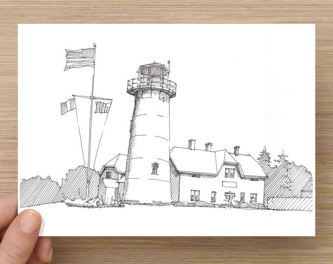 Ink Drawing of historic Chatham Lighthouse on Cape Cod, Massachusetts - Architecture, Sketch, 5x7 Print, Art, Illustration, Pen and Ink
