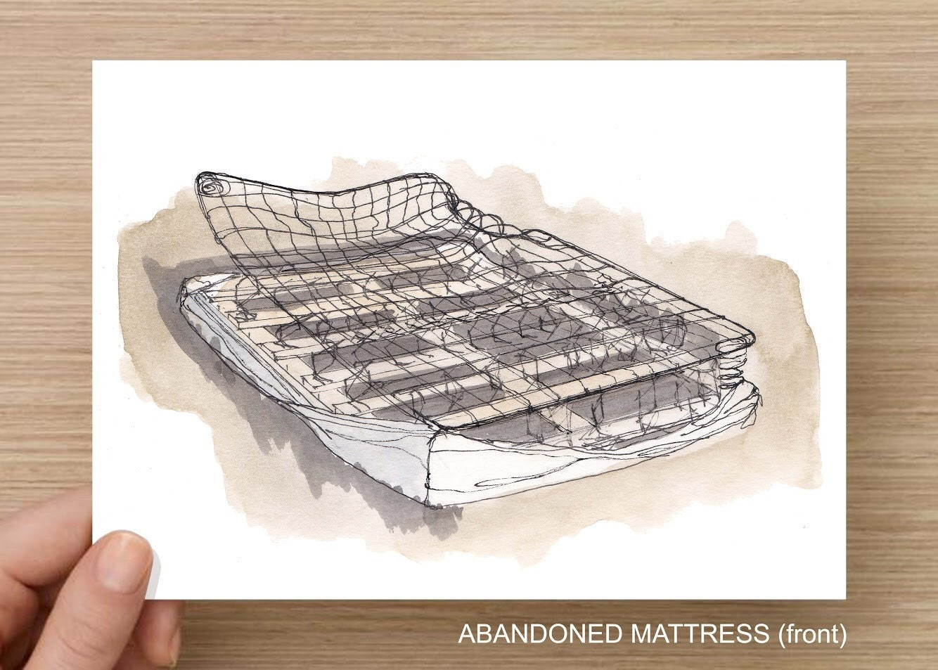 Abandoned Mattress Mattress Bed Springs Trashed Abandoned Art Print Line Drawing Art Pen And Ink Drawing Sketchbook Drawn There