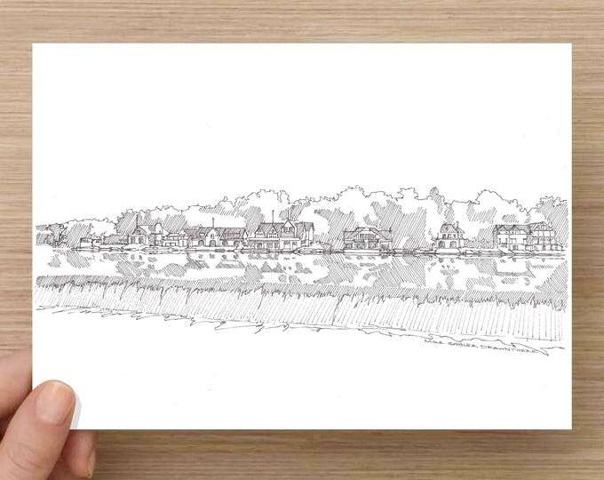 Ink Sketch of Philadelphia Boat House Row - Drawing, Art, Architecture, Rowing, Pennsylvania, Schuylkill River, Pen and Ink, 5x7, 8x10