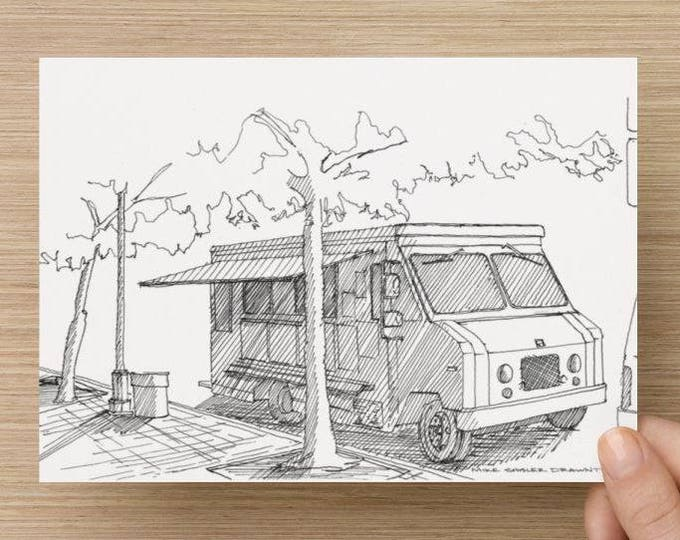 Ink sketch of Food Truck In The Shade - Drawing, Art, Fast Food, Tree, Street Food, Pen and Ink, 5x7, 8x10, Print