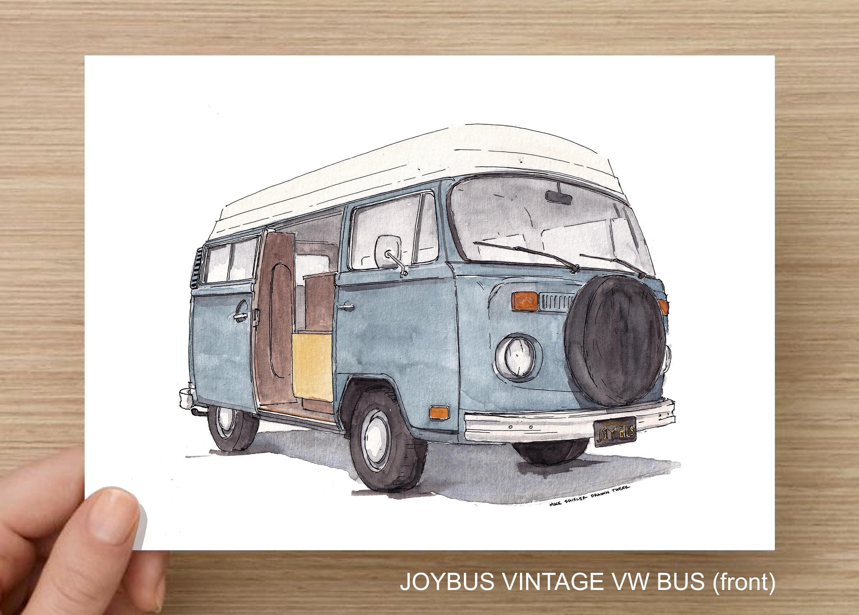 Vintage Vw Bus Joybus Volkswagen Van Vanlife Classic Car Plein Air Watercolor Painting Drawing Art Print Drawn There
