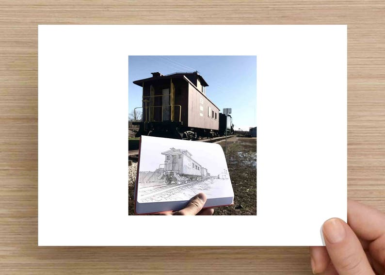 Caboose on the tracks near Frisco, Texas - Rail Road, History, Train, Ink  Drawing, Sketch, Black and White, Art, Pen and Ink, 5x7, 8x10