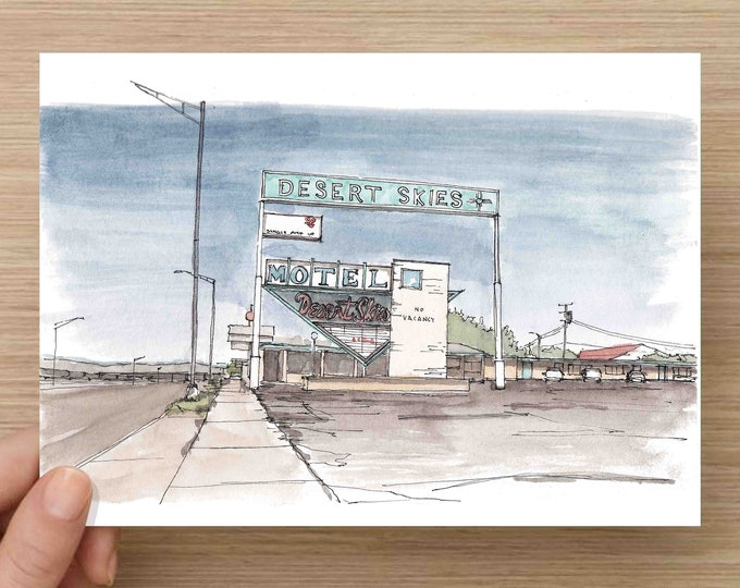 Featured listing image: Watercolor Painting of Desert Skies Motel on Route 66 in New Mexico - America, Ink Drawing, Sketch, Watercolor, Art, Pen and Ink, 5x7, 8x10