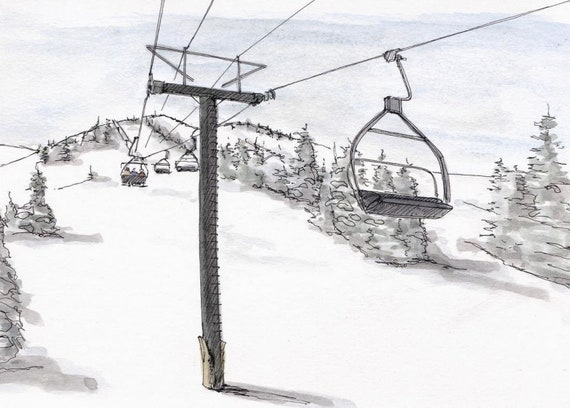 Mammoth Mountain California Ink And Watercolor Painting Etsy
