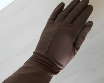 Ladies vintage taupe evening costume stretch fabric gloves size 6