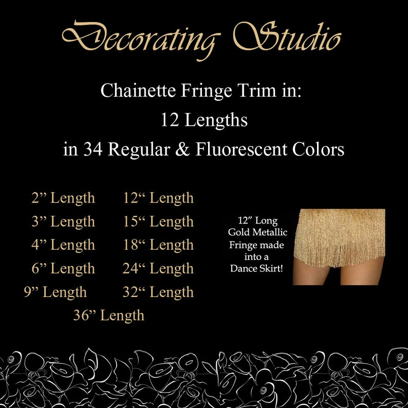 Home Decor 6 Fringe Long Chainette Hangs Loose at Bottom Trim for Dancewear Silky Rayon Made in USA Performance Competition Dance