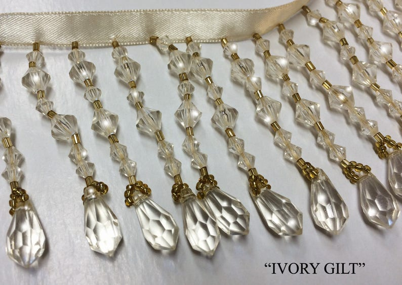 Crystal Clear or Ivory Beads 3 Long Teardrop Beaded Fringe Trim Home Decor Bead Trimming Choose Clear Diamonds or Ivory Gilt