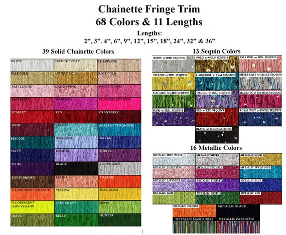 "U Pick Color 1 yard 7/"" Chainette Fringe Dance Costume Lamp Trim 32 COLORS"