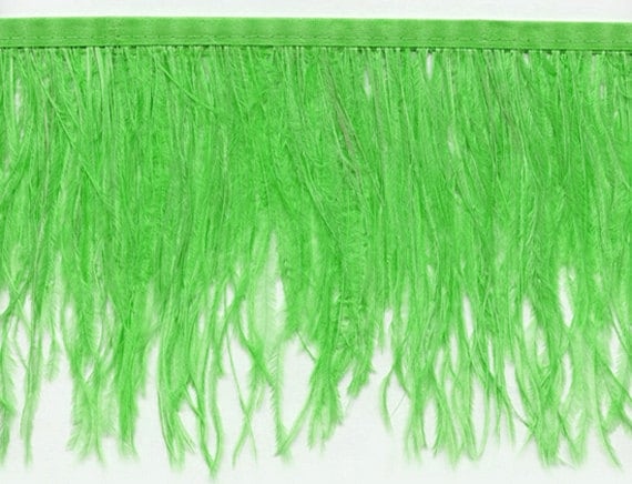 6 Inch Strip Ocean Green Ostrich Fringe Trim Feather Arts Craft Supply Sample