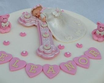 edible baby and cross christening cake topper baby girl etsy