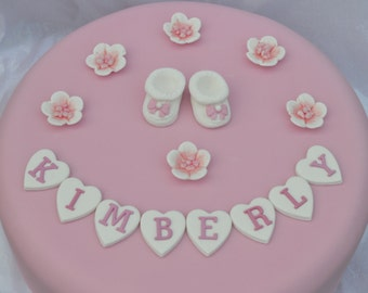 Edible personalised  baby booties Christening cake topper . Personalised edible Christening cake decoration