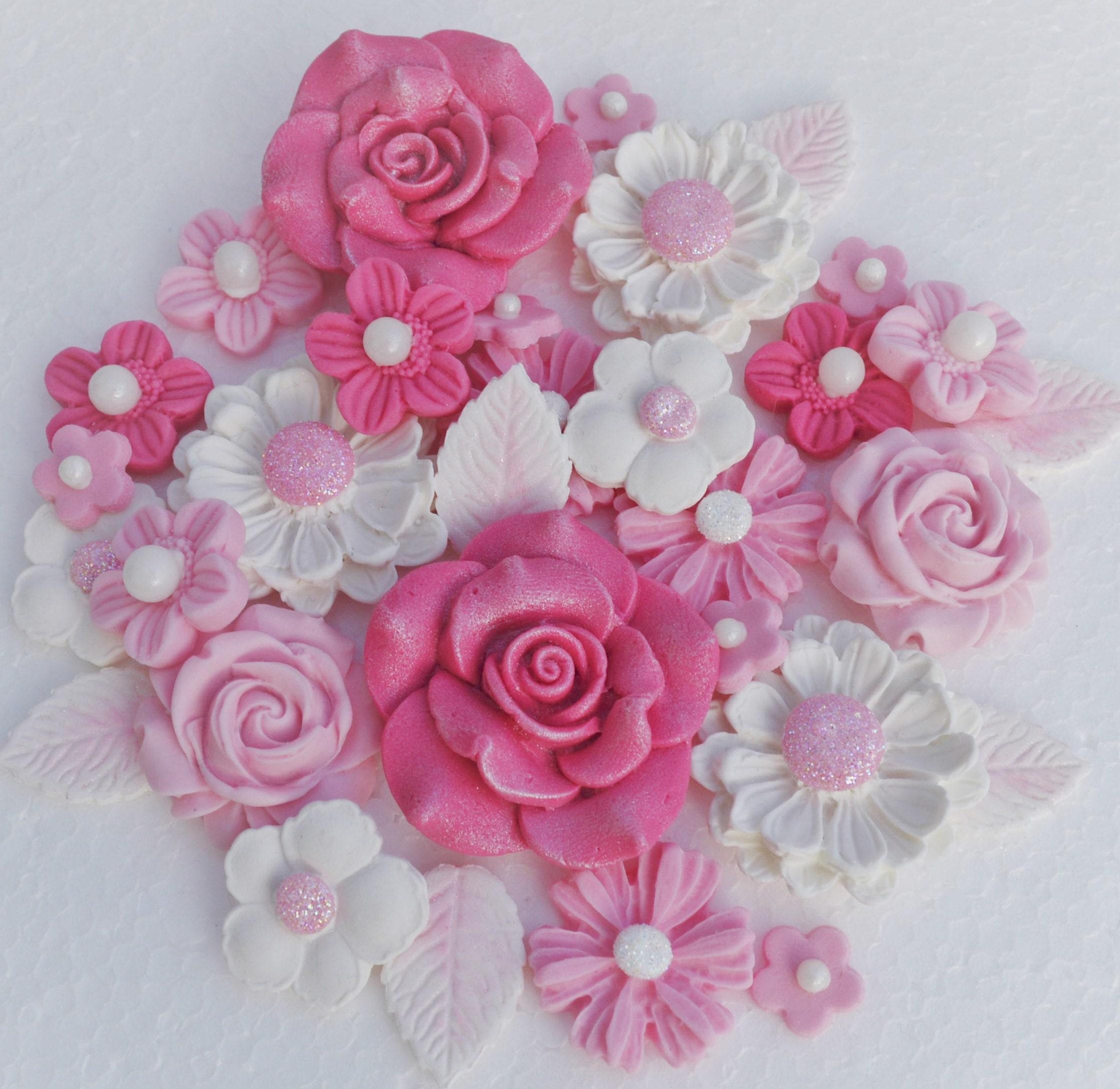 Edible Pink Wedding Christening Cake Flowers