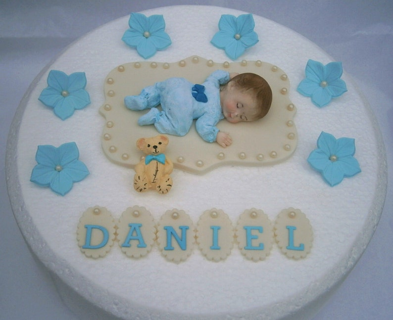Edible Baby Boys Christening 1st Birthday Cake Topper