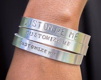 Custom Bracelet - Customized Jewelry - Hand Stamped Jewelry - Silver Bangle Bracelet - Your Saying - Made To Order Jewelry -