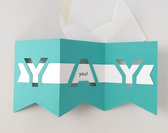 YAY you! Die-cut Greeting Card for all celebratory occasions - More colors available
