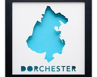 Dorchester - Boston, MA Neighborhood - Framed Cut Paper Map Artwork